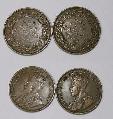 1911 And 1913 Canada Large Cents Lot 2 Coins Inv#393-17