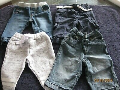 Bundle Of 4 Boys Jeans + Trousers/Joggers - Age 3-6 Months