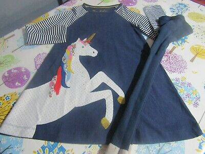 Girls Mini Boden Unicorn Tunic,Dress, &Matching Footless Tights  Age 7-8 Years
