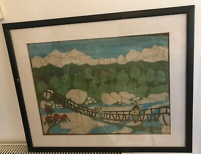 Japanese Silk Screen Framed Picture.