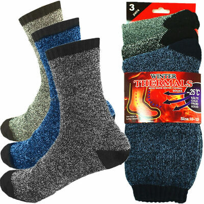 Men's 3 Pairs Heavy Duty Warm Winter Thermal Work Socks with Extra Thick Yarn