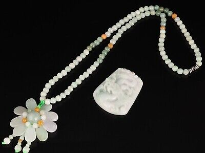 2 Retro Chinese Jade Necklaces Decorated Flower Crafts Collection Gifts