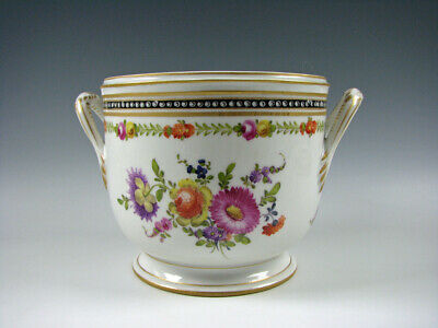 Nyon Switzerland Porcelain Cachepot Flower Pot Hand Painted Flowers