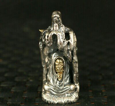S925 Solid silver blessing buddha Bodhidharma IN TREE statue pendant necklace