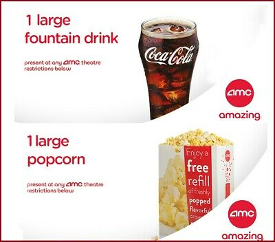 AMC Theaters 1 Large Drink & 1 Large Popcorn Vouchers - INSTANT DELIVERY