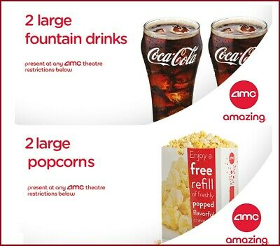 AMC Theaters 2 Large Drinks & 2 Large Popcorn Vouchers - INSTANT DELIVERY