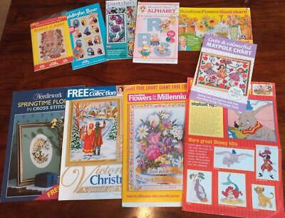 Bundle 10 various Cross Stitch magazine gifts / extra - Charts - see pictures