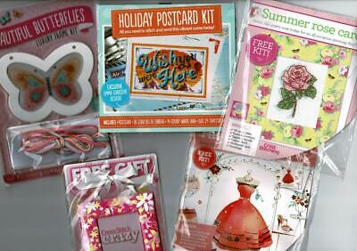 Bundle 5 various Cross Stitch magazine gifts - mini kits & frame  - see pictures