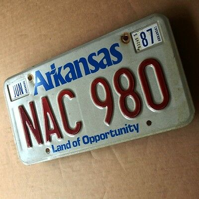 ARKANSAS Altes Nummernschild 80er ORIGINAL USA Licence Plate NAC 980 Opportunity