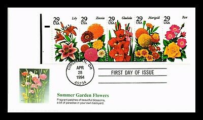 Dr Jim Stamps Us Summer Garden Flowers Booklet Pane Fleetwood First Day Cover
