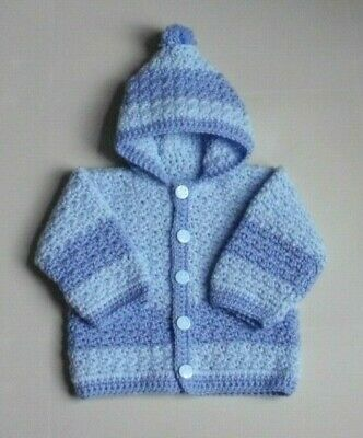 New Hand Crochet/Knit Baby Boys Blue Hooded Cardigan Fit 3-6 Months