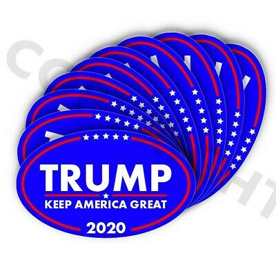 "TRUMP 2020 Keep  American Great Bumper Stickers Oval Decals Blue 2"" 10 pack"