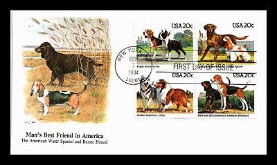Dr Jim Stamps Us Mans Best Friend Dogs Block Of Four First Day Cover