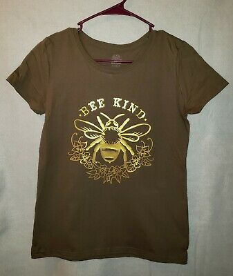 Gold Be Kind Bee Handmade Women's Brown T-Shirt Size Small