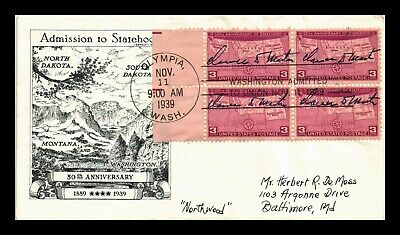 Dr Jim Stamps Us Washington Fifty Years Statehood Scott 858 On Cover Block