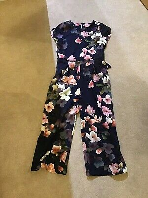 Beautiful Next Girls Black Floral Jumpsuit Age 13 Yrs