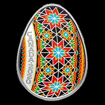 Canada - 2020 'Traditional Pysanka' Egg-Shaped Colorized Proof $20 Silver Coin