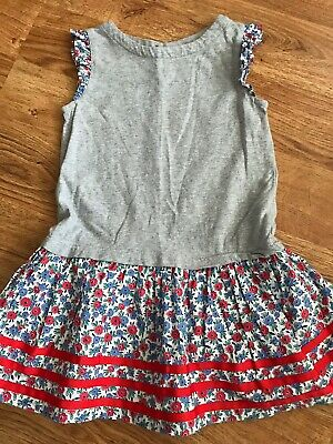 Mini Boden Girls Dress Gray Floral 2-3 years