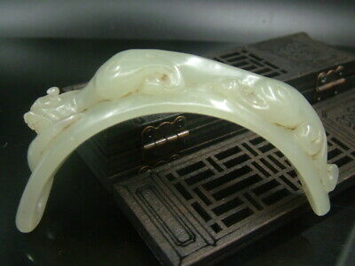 Antique Chinese Nephrite Hetian -OLD  Hollow jade Tiger-RUYI Statue/Pendant