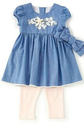 Bonnie Jean Baby Girls Puff Sleeves Chambray Dress Outfit & Headband Set 24M New