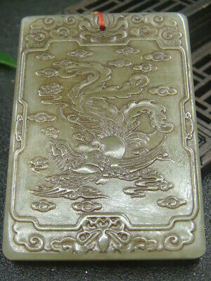 Chinese Antique Celadon Nephrite Hetian-OLD-  Jade Dragon Statue/Pendant