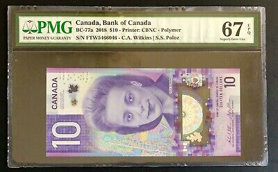 Canada 2018, UNC Banknote $10 Dollars bill, BC-77a Wilkins / Poloz, PMG 67 EPQ