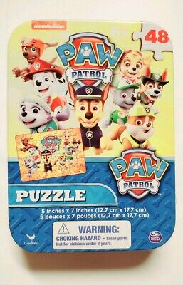 """Nickelodeon Paw Patrol PUZZLE In COLLECTIBLE TIN PUZZLE 48PC 5""""x7/"""" Sea Patrol"""