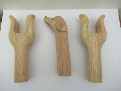 2 WOODEN CARVED LYRE SHAPE & WOODEN DOG HEAD-  Handle blanks for  stickmaking