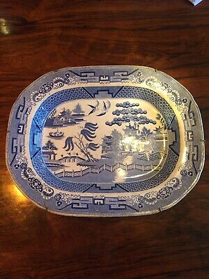 Large Antique Chinese 18thC Qianlong Blue and White Platter Tray Dish Marked