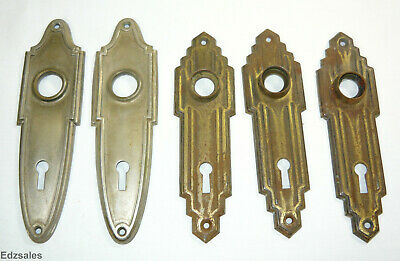 5 Vintage Art Deco Door Knob Escutcheon Plates