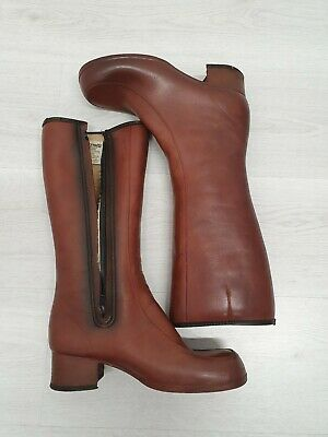 Barratts Vintage Womens Boots Size 8 See Photos Brown Derry Waterproof Faux Fur