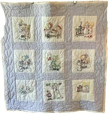 Vintage Hand Embroidered 40x40 Child Quilt Blanket Children Dogs Cats Coverlet
