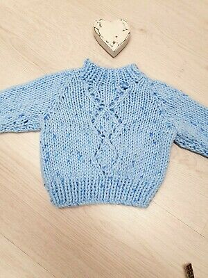 Hand Knitted Baby Boys Jumper Blue Wool Turtleneck