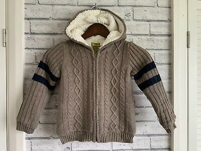 Boys Aged 4–5 Years Beautiful Cable Knit Fleece Lined Hooded Jumper