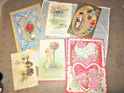 5 Victorian Postcard Valentines & one Easter card LOT of 6