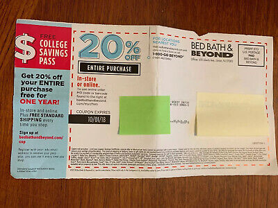 Bed Bath & Beyond 20% OFF ENTIRE Purchase Expired 10/1/18