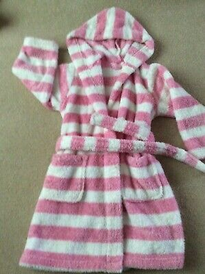 Marks & Spencer Pink & White Stripy Dressing Gown age 3-4 years Excellent
