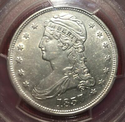 1837 Capped Bust Half Dollar, Reeded Edge, PCGS Certified AU LOT #1 CH UNC