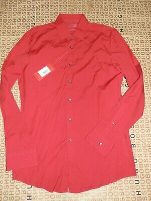 New Hugo Boss mens red slim fit check casual suit jeans shirt XL £89