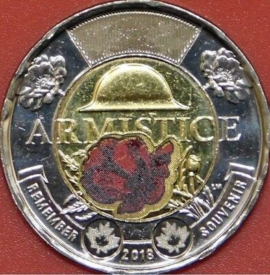 Brilliant Uncirculated 2018 Canada Armistice Color Toonie From Mint's Roll
