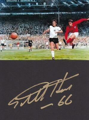 Geoff HURST England 1966 World Cup Hat-trick Hero signed card + 5x7 Photo AFTAL