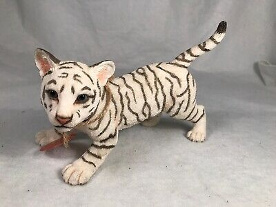 Whote Siberian Bengal Tiger Cub Statue Figurine Handcrafted Painted Country Orig