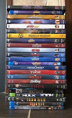 MARVEL CINEMATIC UNIVERSE DVD & BLU-RAY LOT - 22 Movies - Phase 1-3 MCU Avengers