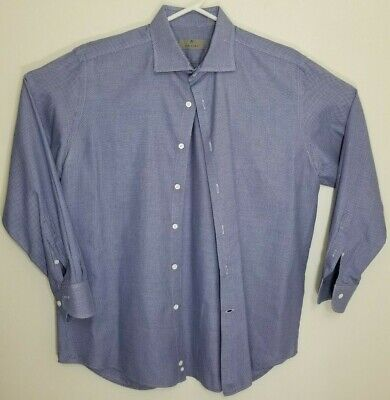CANALI Mens Blue White Check Button Up Long Sleeve Shirt Italy Size 43-17 EUC