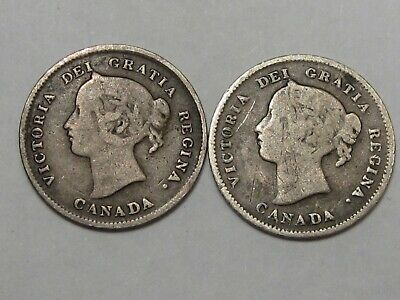 2 Silver Canadian Five Cent Coins: 1896 & 1897. CANADA 5¢.  #164