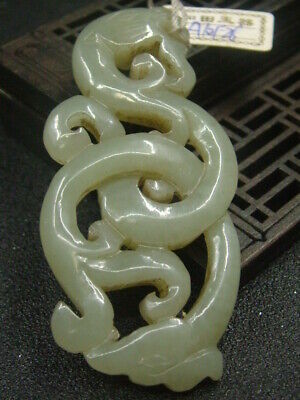 Chinese Antique Celadon Nephrite Hetian-OLD Jade Dragon Statue/Pendant