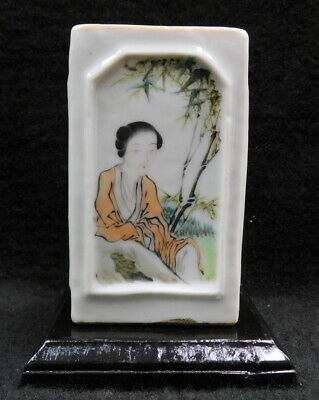 Antique Old small Chinese famille verte square painted porcelain vase