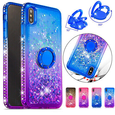 Glitter Liquid Case Ring Stand TPU Cover For iPhone 11 Pro Max XS XR 7 8 Plus 6S