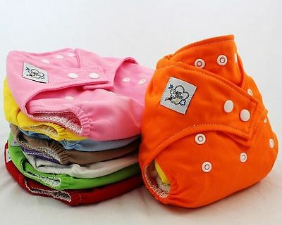 Summer 10 PCS Adjustable Reusable Baby Washable Cloth Diaper Nappies +10 INSERTS