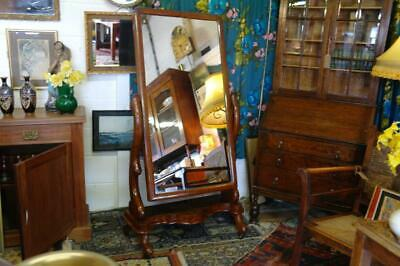 Antique Cheval Mirror Full Length Mahogany & Walnut Victorian Country House Chic